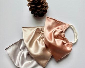 Satin neutral wedding Reusable cloth washable Face Masks
