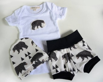 Geo Bear Onsie or tee with organic cotton patch to match leggings or shorts in sizes NB to 12 Months (this listing is for 1 onsie only)