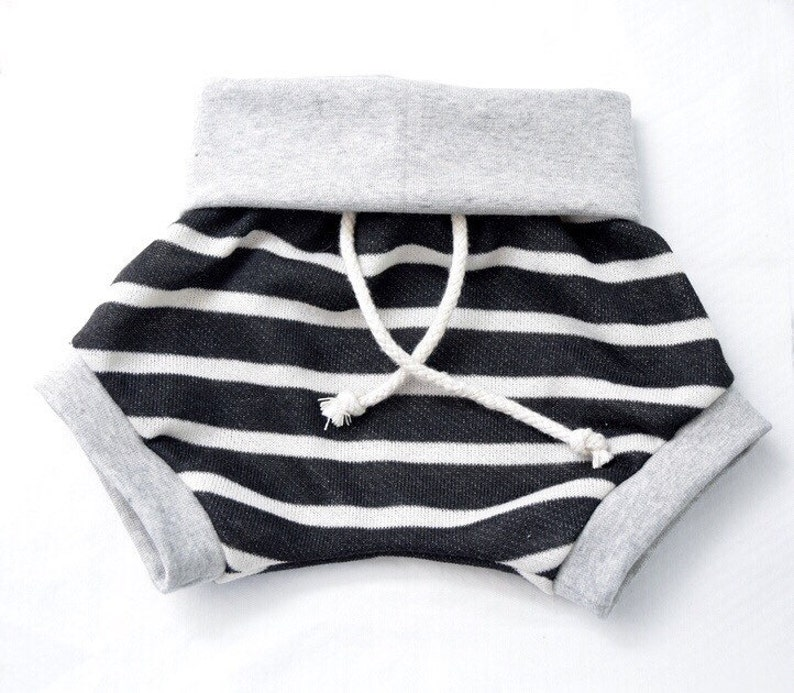 French terry medium weight knit black with natural stripe image 0