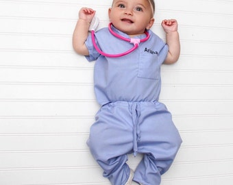 Infant Toddler Personalized scrub set (stethoscope not included) THESE ARE U.S. Sizes not UK