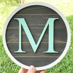 """8"""" Shiplap Style Custom Monogram 3D Initial Sign. Modern Farmhouse Home Decor. Gallery Wall Letter. Maternity Photo Prop. Circle round shape"""