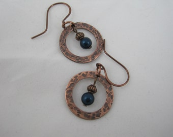 Copper Earrings withTeal/Blue Pearl and Wire Wrapping
