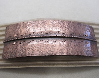 Fold form Copper Textured Barrette