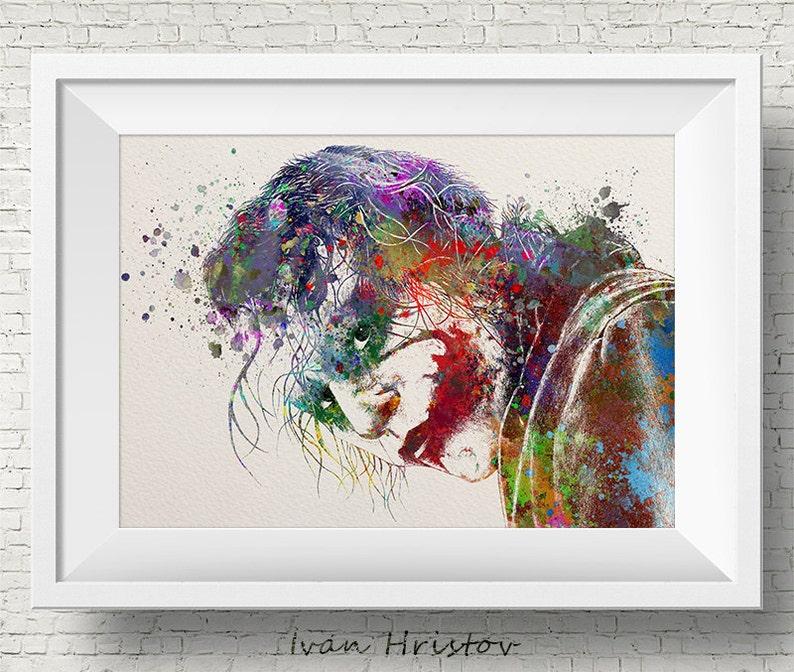 Heath Ledger Joker inspirado de BATMAN acuarela pintura  8cce2e0aef6