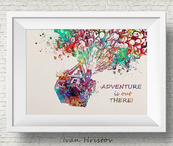 Up Quote Movie Poster Inspired Watercolor Art Print Wall Art Etsy