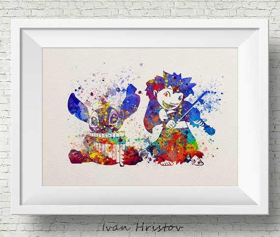 lilo stitch lilo stitch disney watercolor art print etsy