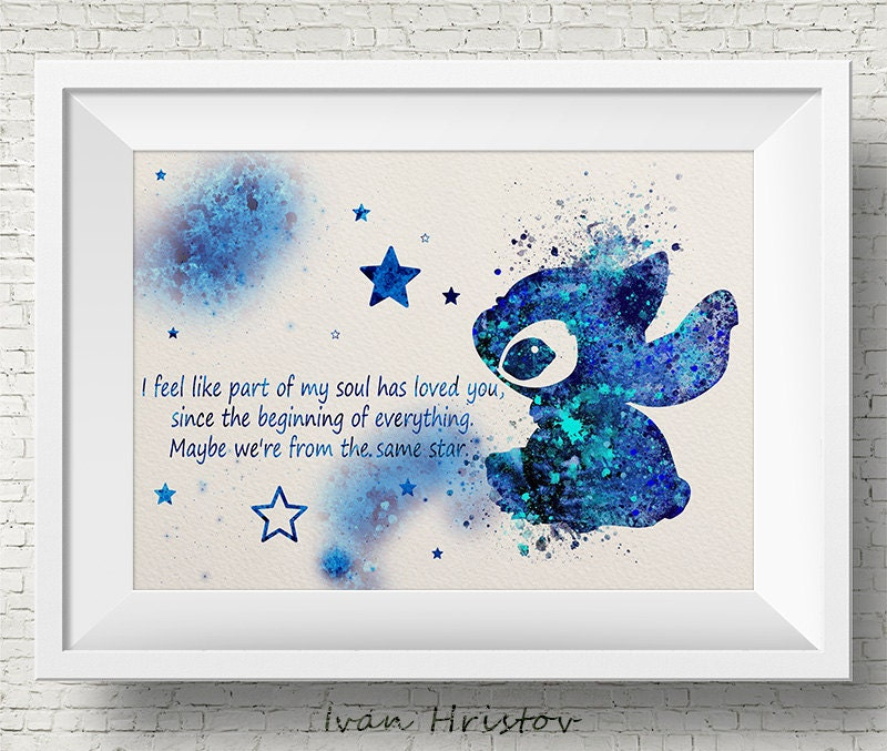 Stitch Quote Lilo And Stitch Disney Watercolor Illustrations Etsy