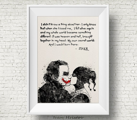 Joker And Harley Quinn Quotes Joker and Harley Quinn Inspired Quote Watercolor Painting | Etsy Joker And Harley Quinn Quotes