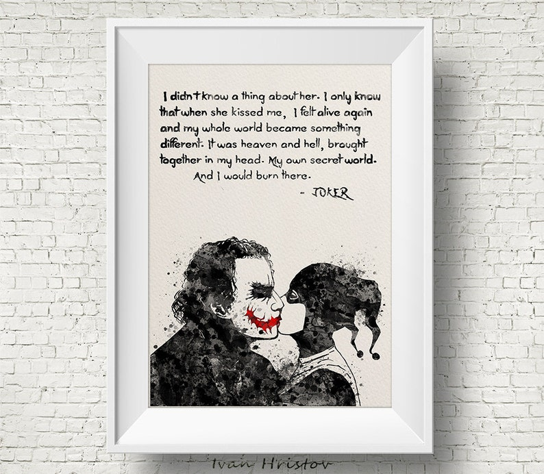 Joker and Harley Quinn Inspired Quote Watercolor Painting image 0