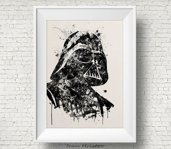 Darth Vader Noir Et Blanc Star Wars Peinture Aquarelle Impression Fan Art Wall Decor Art Home Decor Enfants Art Mûr