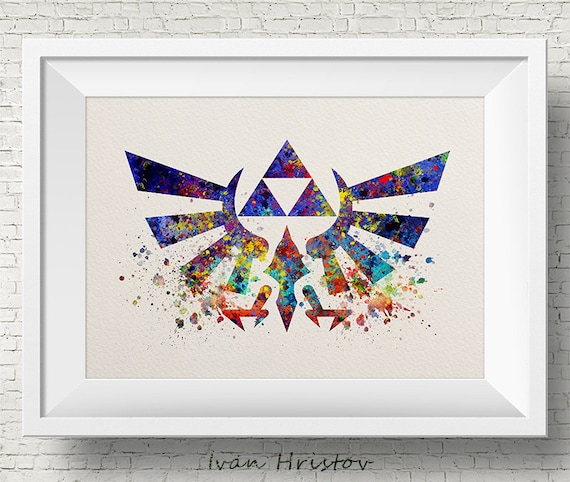 Unframed Zelda Triforce Watercolor Poster; Gaming Poster Video Game Decor