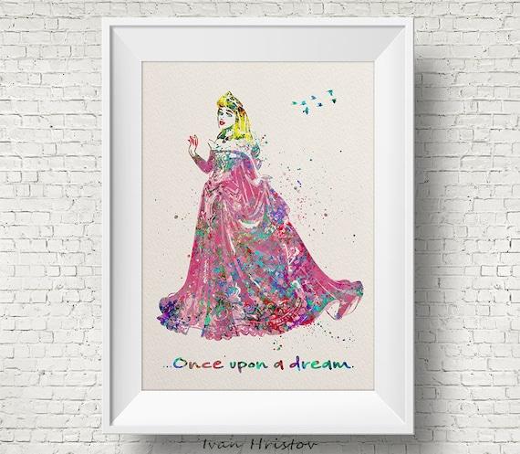 ART PRINT Sleeping Beauty Quote illustration Princess Wall Art Aurora Disney