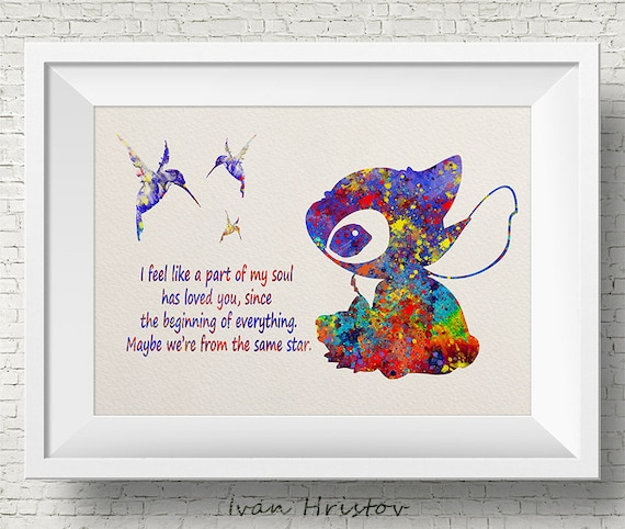 Stitch Same Star Quote From Lilo And Stitch Disney Watercolor Etsy