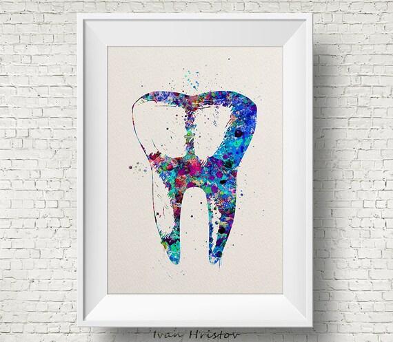 Menschlichen Zahn Aquarell Druck Zahnmedizin Zahn anatomische | Etsy