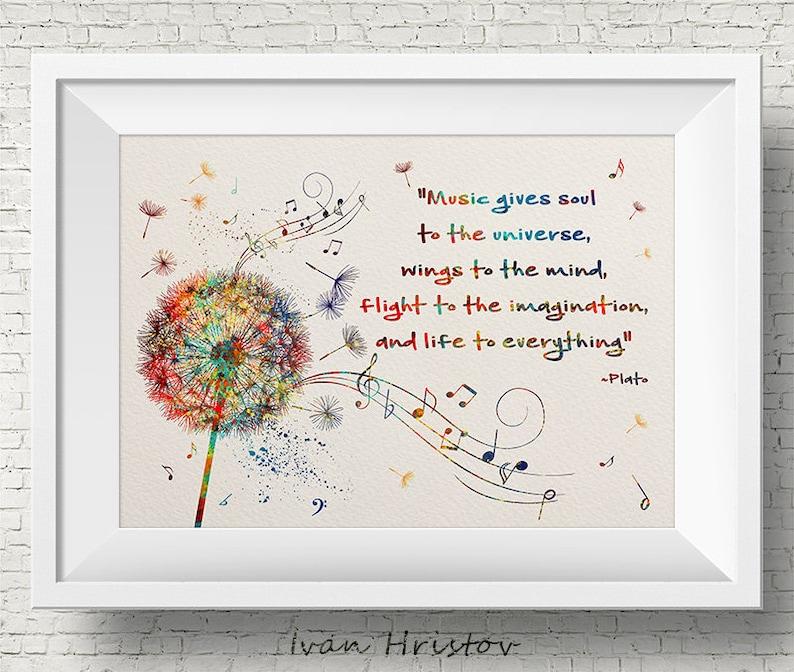 0d3f87028c Dandelion Flower Music Notes Quote Plato Watercolor Print Love