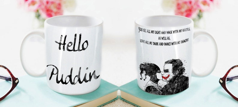 b7cd4114d7b1 Hello Puddin Joker and Harley Quinn Quote Inspired Mug