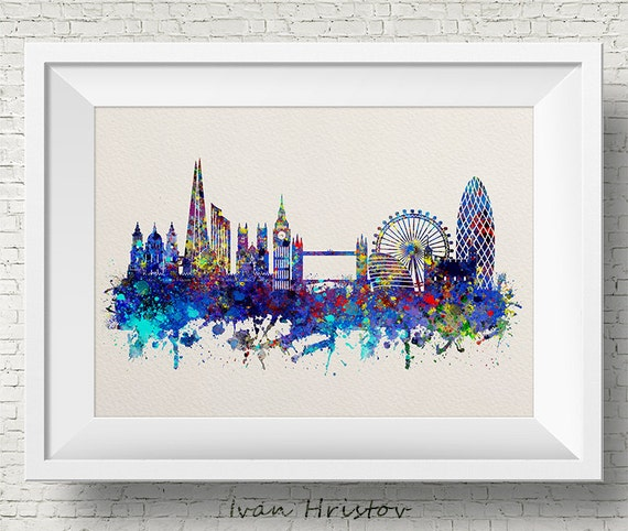 Poster London Inspired Cityscape watercolour Wall art- various Sizes Print Frame Not Included