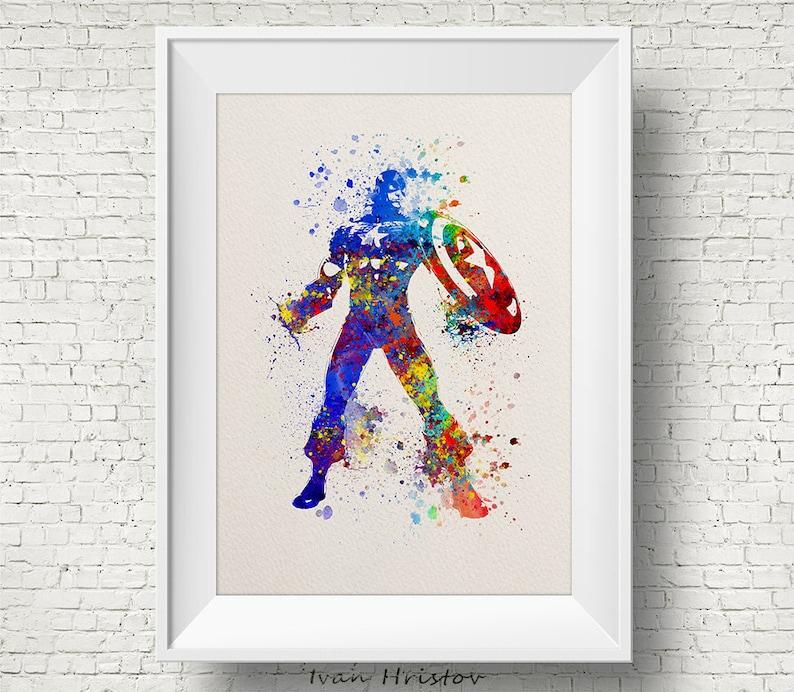 Captain America 2 Watercolor Print, watercolor painting, watercolor  art,Captain America art,Captain America print, movie poster, movie print