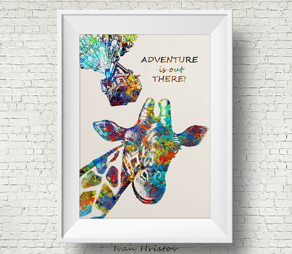 Up Quote Movie Poster Inspired Giraffe Animal Africa Etsy