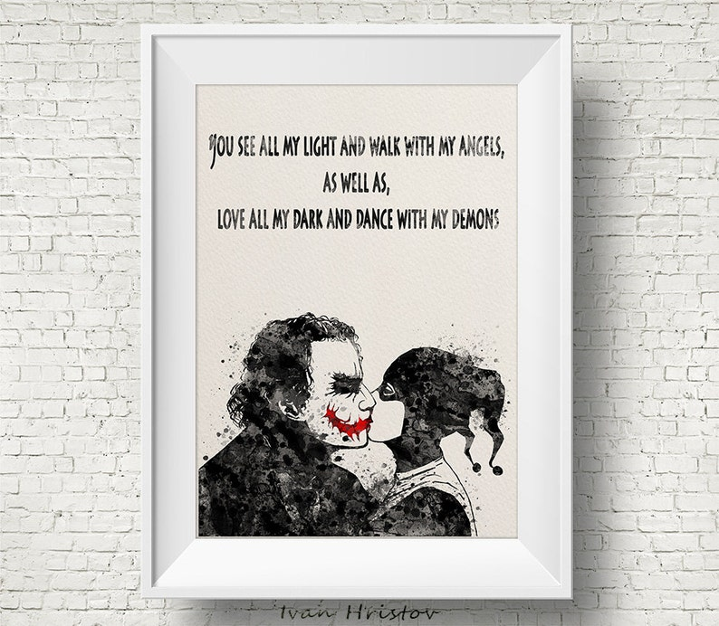Joker And Harley Quinn Inspired Quote 1 Watercolor Painting Etsy