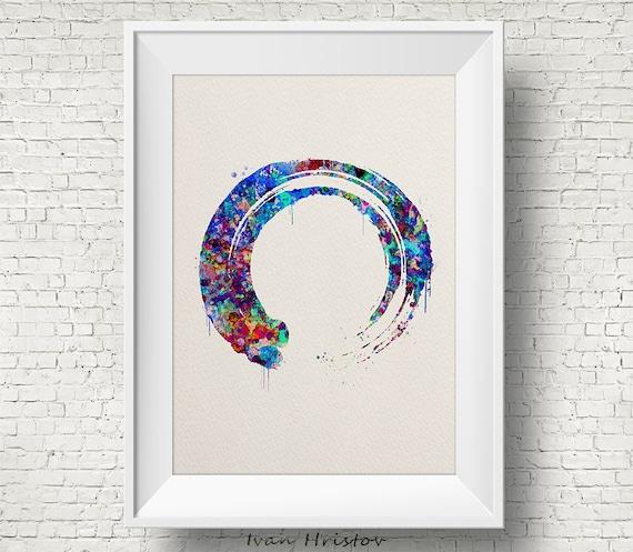 zen circle inspired Watercolour Enso poster print wall art gift decor yoga