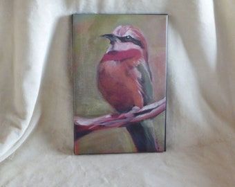 Stretched canvas print of original acrylic  painting of white-fronted bee eater