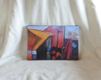 Stretched canvas print of original acrylic abstract painting of Tucson Annex Building