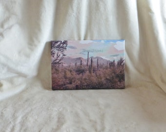 Stretched canvas print of original photopainting of snowy Tucson morning