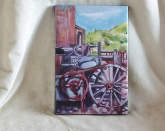 Stretched canvas print of original watercolor painting of old machinery