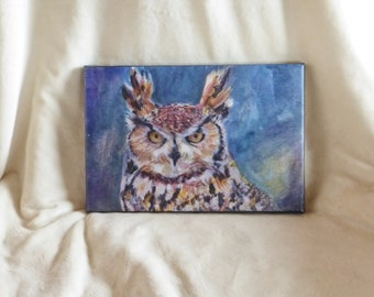 Stretched canvas print of original watercolor painting of Great Horned Owl