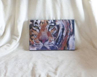 Stretched canvas print of original oil painting of Amur tiger
