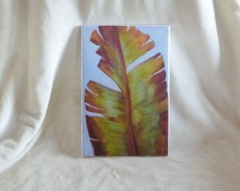 Stretched canvas print of original acrylic  painting of banana leaf