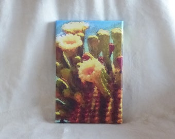 Stretched canvas print of original photopainting of saguaro blooms