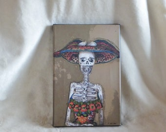Stretched canvas print of original photopainting of Day of The Dead Catrina