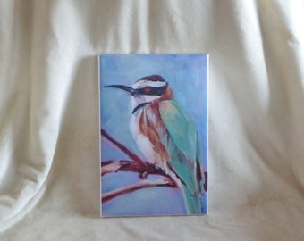 Stretched canvas print of original acrylic  painting of white-throated bee eate