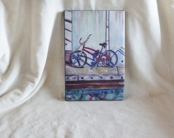 Stretched canvas print of original watercolor painting of beach cruiser bike on harbor dock