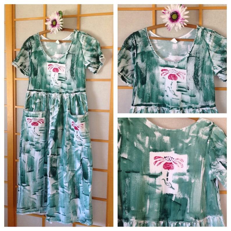 Plus Size Maxi Dress Cotton Pocket Dress Plus Size Dress Hand wildflower