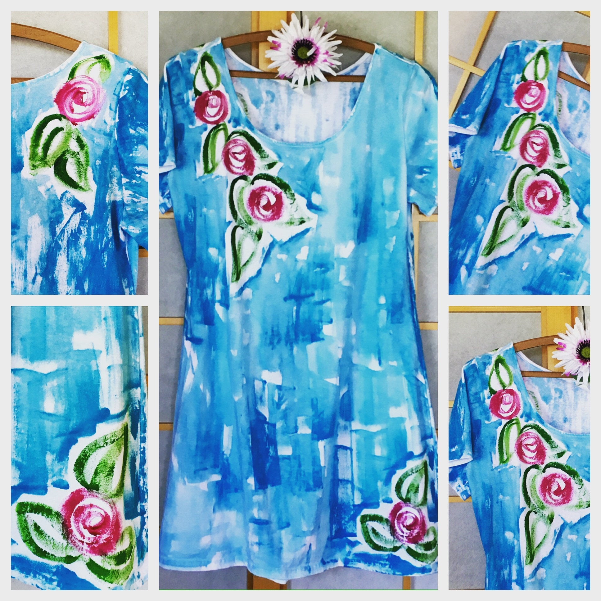 Hand Painted Cotton Dress Resort Wear Hawaii Dress Floral