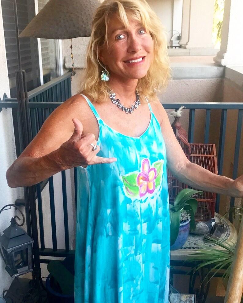 7b9aaaa484 Hawaii Dress Maxi Dress Hand Painted Maxi Plus Size Beach | Etsy