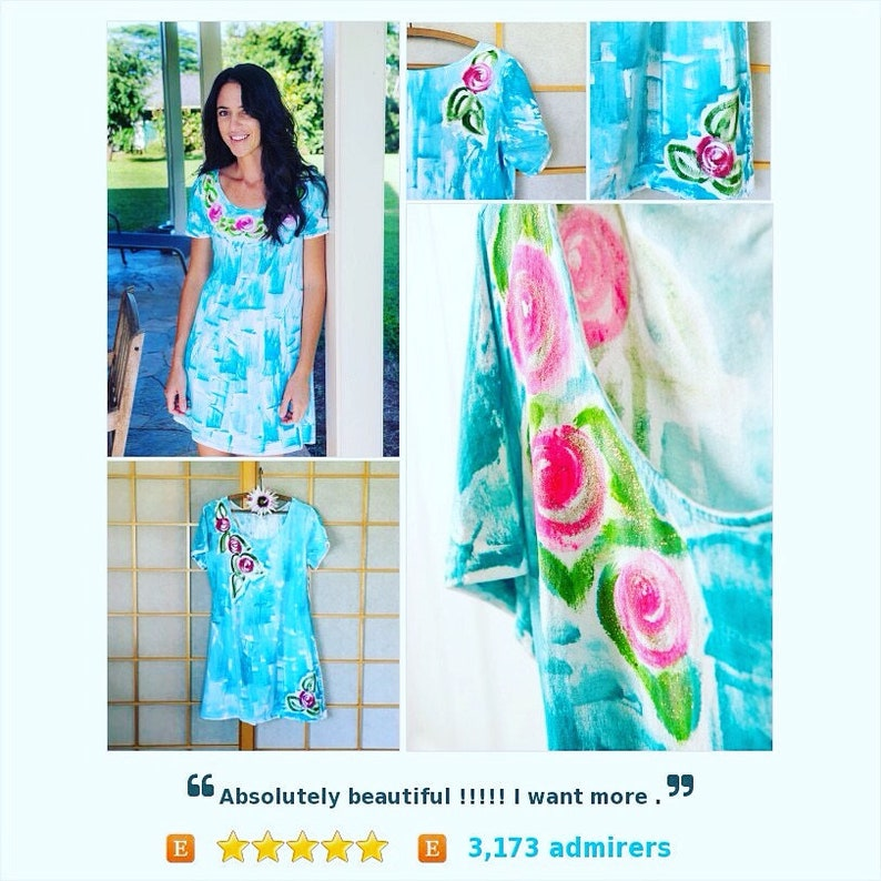 f6fa271f28 Hawaii Dress Hand Painted Clothes Floral Dress Cotton Cover Up | Etsy