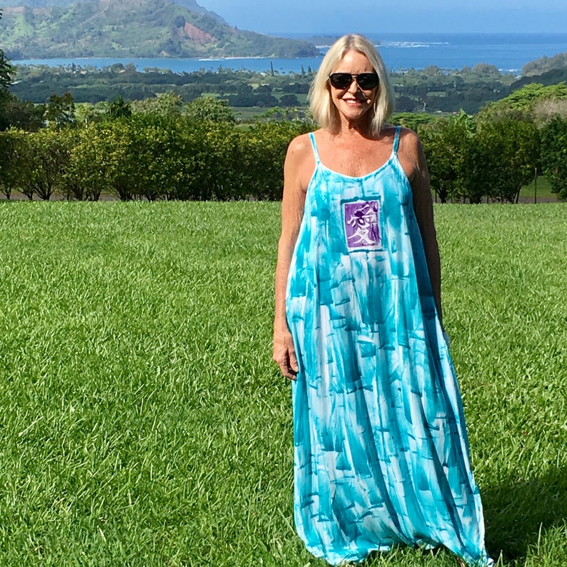 Hawaii Dress Maxi Dress Hand Painted Maxi Plus Size Beach Wedding Resort  Wear