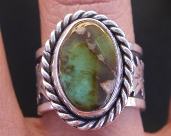 Royston turquoise ring with pine trees size 7