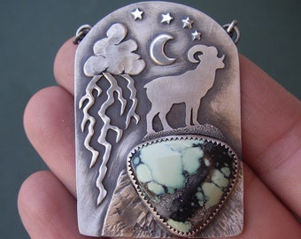 Ram Necklace with lightning cloud, moon and stars