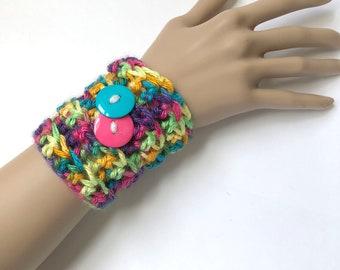 Cuff Bracelet - Crochet Cuff - Rainbow Bracelet - Fiber Bracelet - Fiber Jewelry - Rainbow Yarn - Statement Jewelry - Fiber Cuff Bracelet -