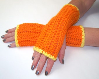 Long Fingerless Gloves, Arm Warmers, Hand Warmers,  Bright Orange With Yellow Trim