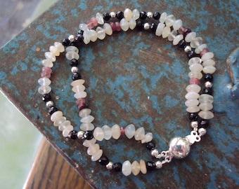 Moonstone, Spinel, Tourmaline Sterling Silver Bracelet