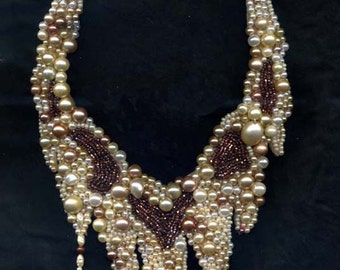 Pearl Embroidered Necklace