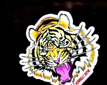 Three-Eyes Tiger 3-Inch Die-Cut Magnet