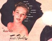 1946 Revlon Face Powder RCA Victor Radio Corporation of America Ad Vintage Beauty Salon Decor Makeup Cosmetic Silhouette Bathroom Wall Art