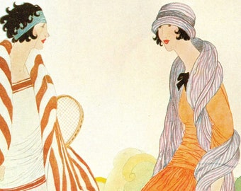 1922 Vogue Stylish Sisters Cover Très Chic Athlete & Fashionista Flapper Vintage Helen Dryden Art Suzanne Lenglen Tennis Fashion Wall Decor